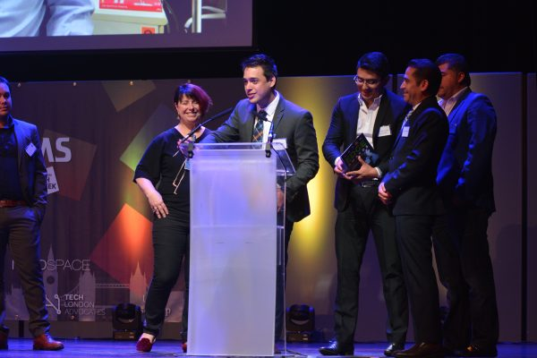 Winner 2018 LatAm Edge Awards Biomi Tech at Indigo at the O2, London. Orlando Monroy,  PR Officer collects the award with his team. 14.06.2018 Photographer Sam Pearce / www.square-image.co.uk