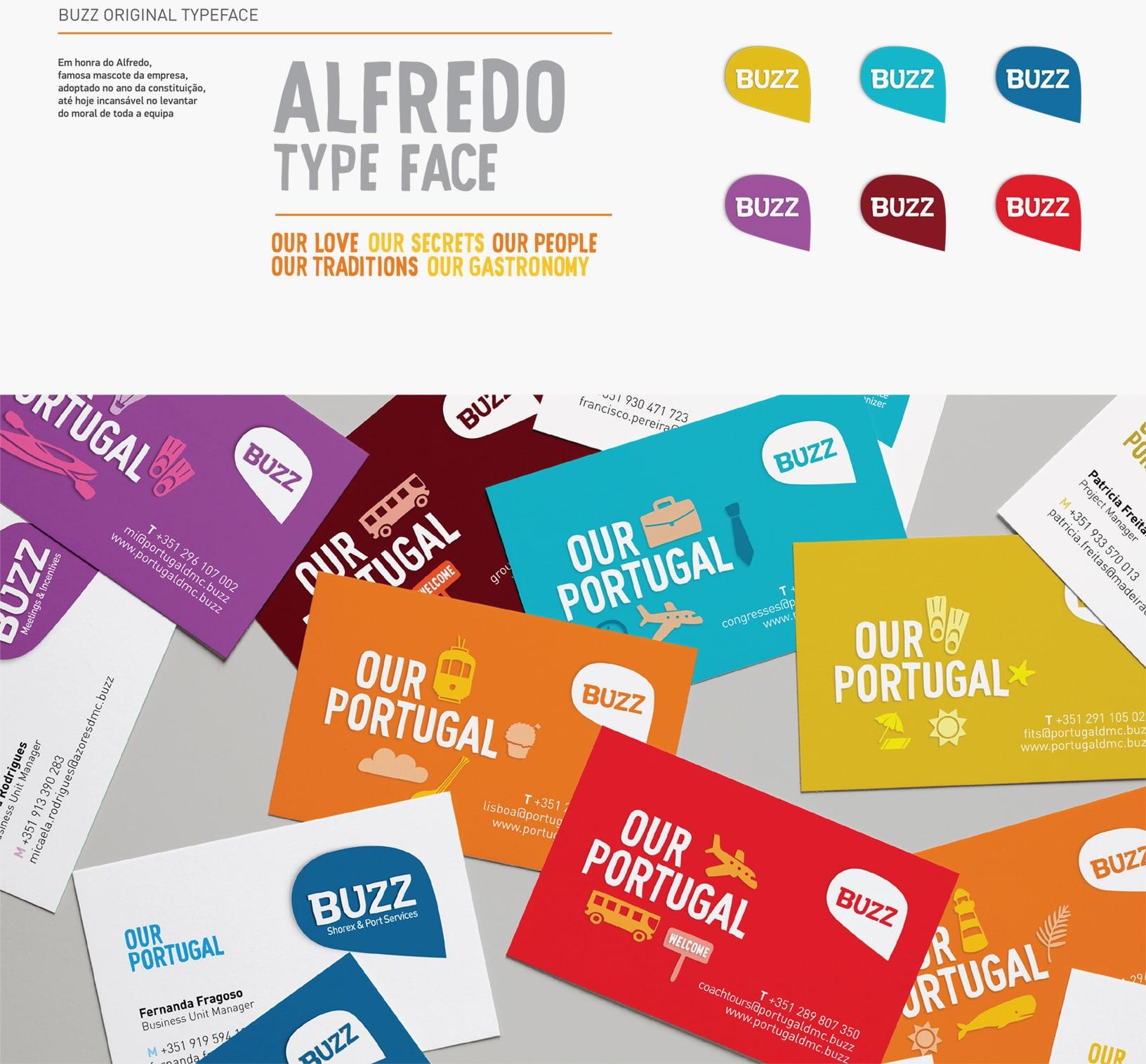 Projeto de branding para buzz, cartões de visita e tipografia